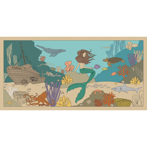 Flat River Group Llc. Lullubee Ocean World Print Giant Paper Coloring Mural