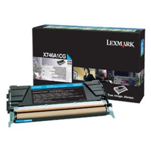 Lexmark Cyan Original Toner Cartridge - LCCP, LRP, Color Laser, 7000 Pages Yield, For X746de, 748de, 748dte Printers, Cyan - X746A1CG
