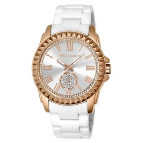 Vince Camuto 50.5mm Swarovski Accent Rose Goldtone Pyramid Bezel Watch w White Ceramic Bracelet