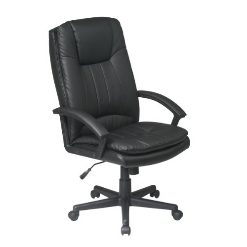 Office Star Deluxe High Back Eco Leather Thick Padded Contour Seat and Back with Built-in Lumbar Support Adjustable Executive Office Chair, Black [Black]