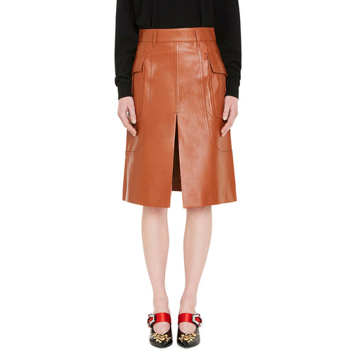 PRADA Leather A-Line Skirt, Neutral