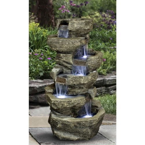 Zenvida Outdoor Tiered Rock Waterfall 39-inch Garden Fountain - Zenvida Tiered Rock Waterfall Outdoor Fountain 39