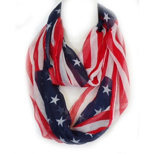 Zodaca Multi-color Fashion Women Ladies Lightweight American USA Flag Loop Circle Infinity Scarf for Women