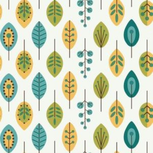York Wallcoverings Bistro 750 Retro Leaves Wallpaper