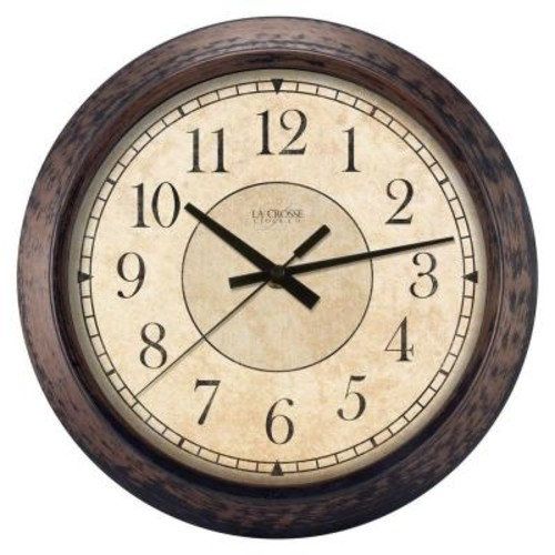 La Crosse Technology 14 in. H Round Brown Plastic Analog Wall Clock