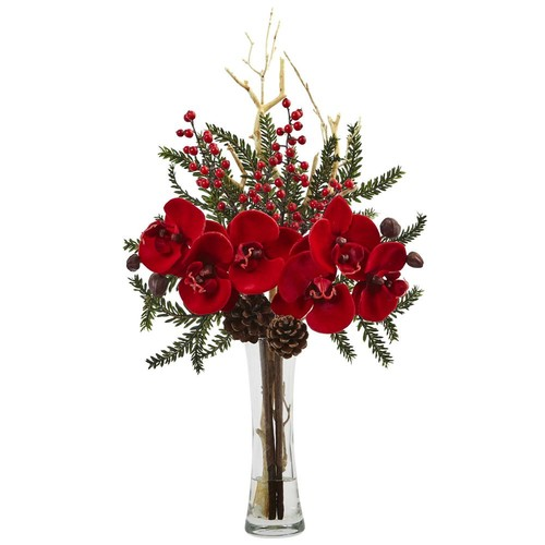 Nearly Natural Mixed Orchid Holiday Arrangement with Vase