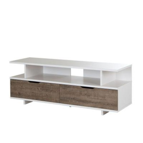 South Shore Reflekt Weathered Oak and Pure White Storage Entertainment Center