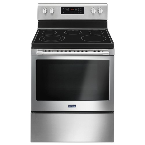 Maytag 30 in. 5.3 cu. ft. Electric Range with Shatter-Resistant Cooktop in Fingerprint Resistant Stainless Steel
