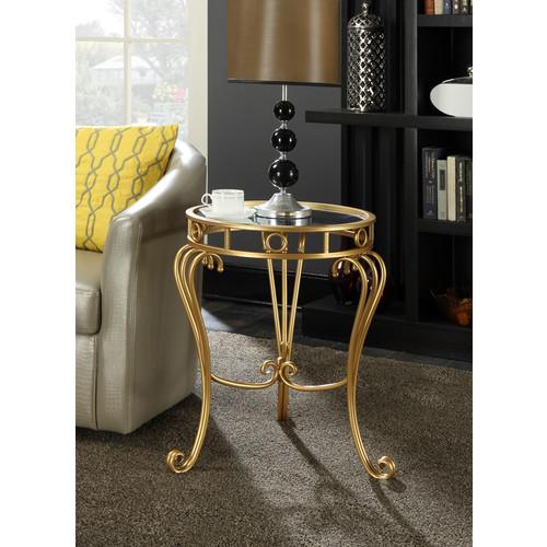 Convenience Concepts Gold Coast Julia Decorative Mirrored End Table