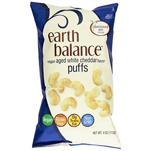 Earth Balance Gluten Free Vegan Snacks, Aged White Cheddar Flavor Puffs, 4 Oz