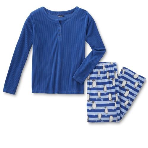 Basic Editions Women's Plus Fleece Pajama Shirt & Pants - Reindeer