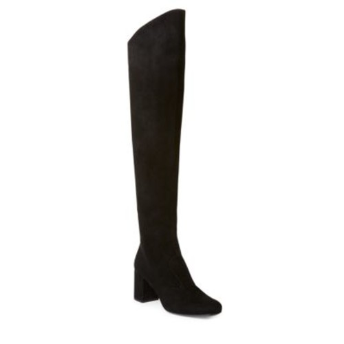 SAINT LAURENT Suede Over-The-Knee Block Heel Boots
