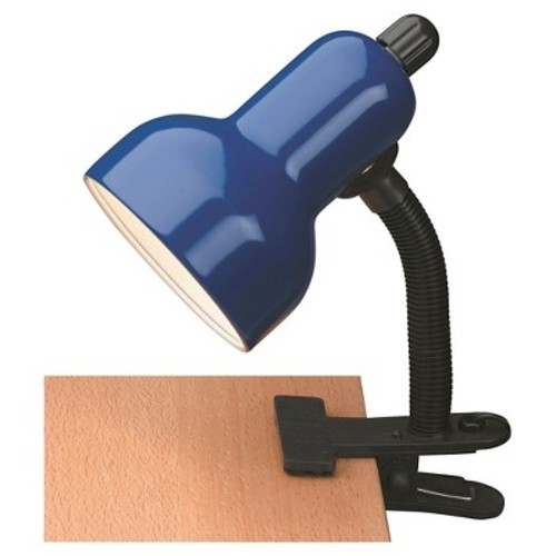 Lite Source Clip-On 1 Light Table Lamp - Black with Blue Shade