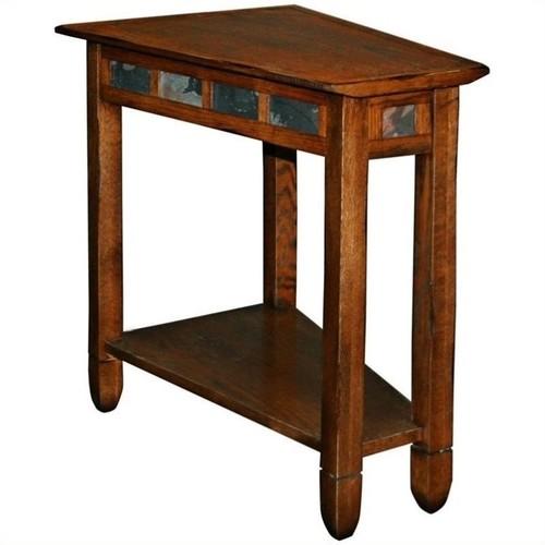 Leick Furniture Rustic Slate Recliner Wedge End Table in Rustic Oak
