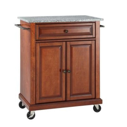 Crosley Cherry Kitchen Cart With Granite Top