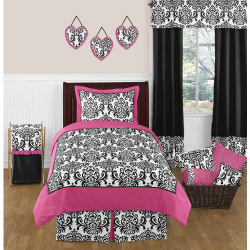 Sweet Jojo Designs Isabella Hot Pink, Black and White Collection 3pc Full/Queen Bedding Set