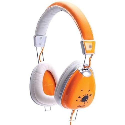 iDance Funky Lightweight Headphones with Inline Mic, Orange/White FUNKY300