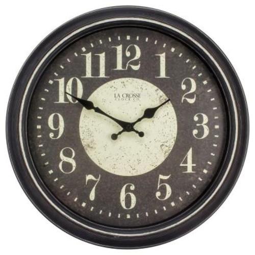 La Crosse Technology 15.75 in. H Black Weathered Plastic Analog Wall Clock