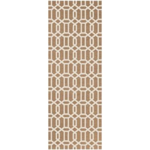 Ruggable Washable Fretwork Rich Tan 2 ft. 6 in. x 7 ft. Stain Resistant Runner
