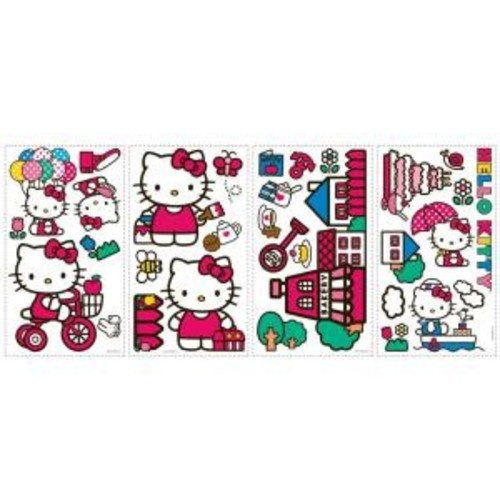 10 in. x 18 in. Hello Kitty - The World of Hello Kitty 32-Piece Peel and Stick Wall Decals