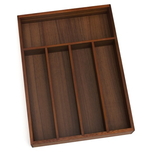 Lipper Acacia Flatware Organizer, Walnut Finish, 5 Compartments