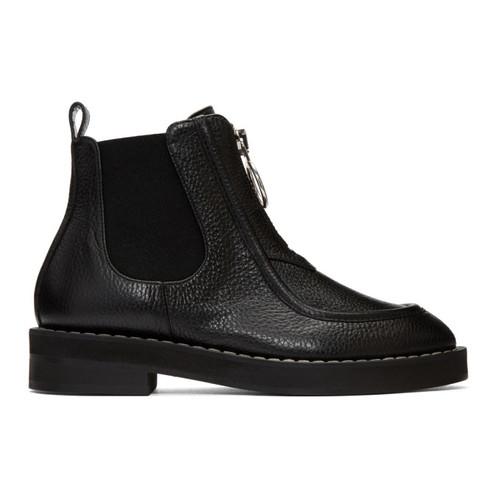 CARVEN Black Orsay Loafer Boots