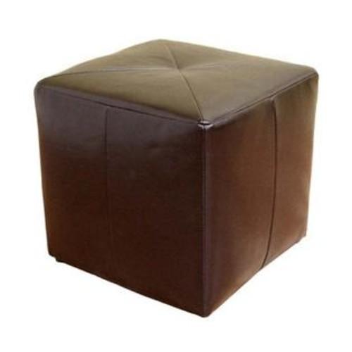 Baxton Studio Aric Small Cube Leather Ottoman