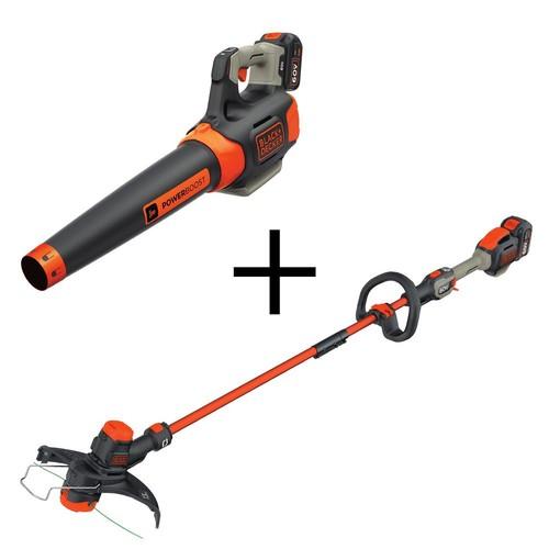 BLACK+DECKER 100 MPH 400 CFM 60-Volt MAX Lithium-Ion Cordless Handheld Leaf Blower with Bonus 2-in-1 String Grass Trimmer/Lawn Edger