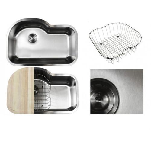 Ariel Pearl Sharp Satin 31.5-inch Premium 16-gauge Stainless Steel Undermount Single Bowl Kitchen Sink Accessories Kit