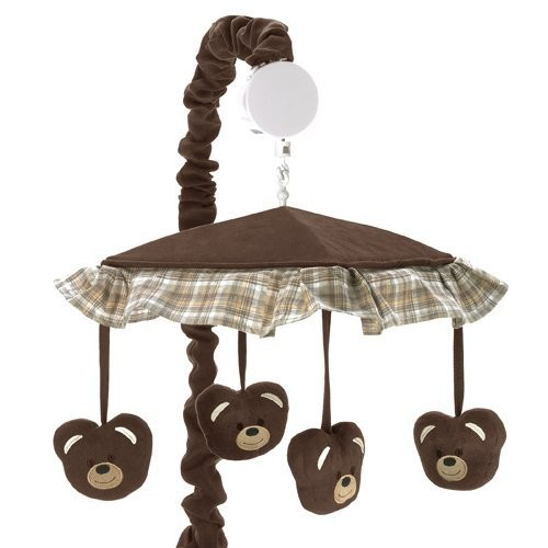 Sweet Jojo Designs Chocolate Teddy Bear Musical Baby Crib Mobile