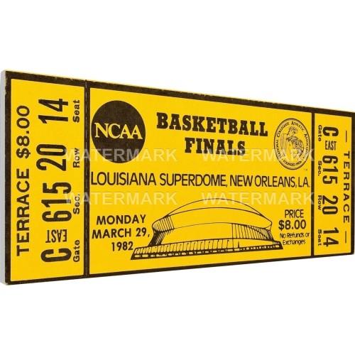 That's My Ticket North Carolina Tar Heels 1982 NCAA Basketball Finals Canvas Mega Ticket