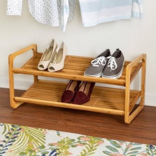 Honey-Can-Do SHO-01633 2-Tier Stackable Bamboo Shoe Shelf