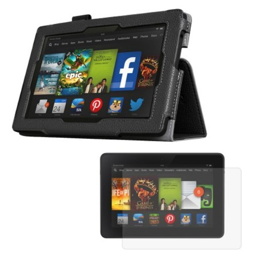 Black Double-Fold Folio Case with Screen Protector for Kindle Fire HD 7