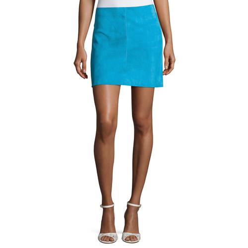 DIANE VON FURSTENBERG Jenny Lamb Suede Mini Skirt, Blue