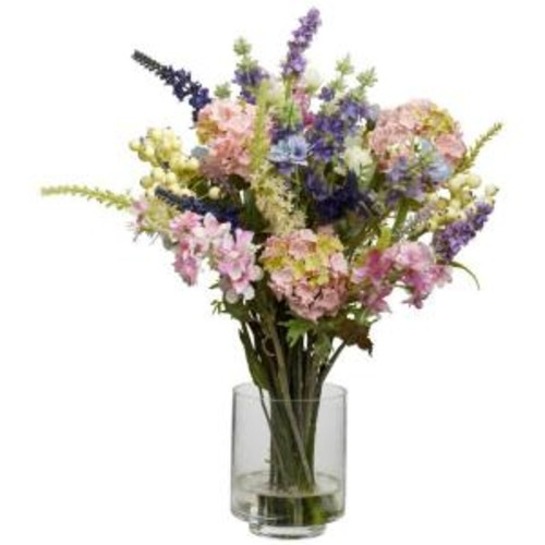 Nearly Natural 16 in. H Assorted Lavender and Hydrangea Silk Flower Arrangement