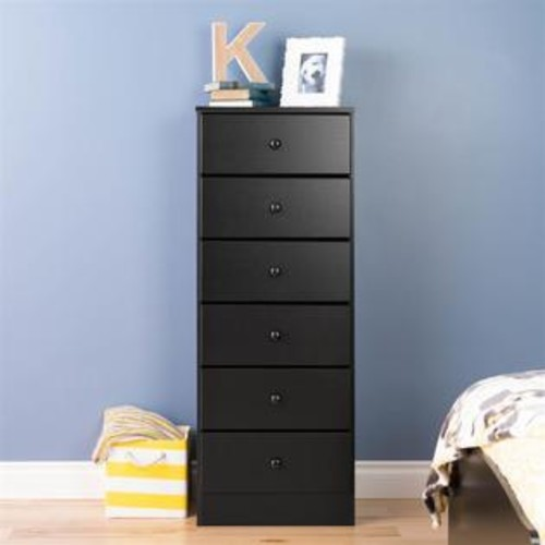 Prepac 6-Drawer Tall Chest in Black