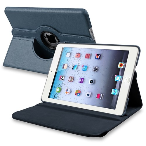 INSTEN Navy Blue Leather Swivel Tablet Case Cover for Apple iPad Mini 1/ 2 Retina Display