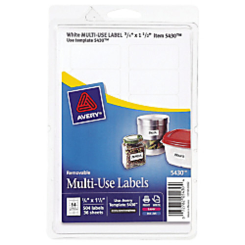 Avery Removable Inkjet/Laser Multipurpose Labels, 3/4