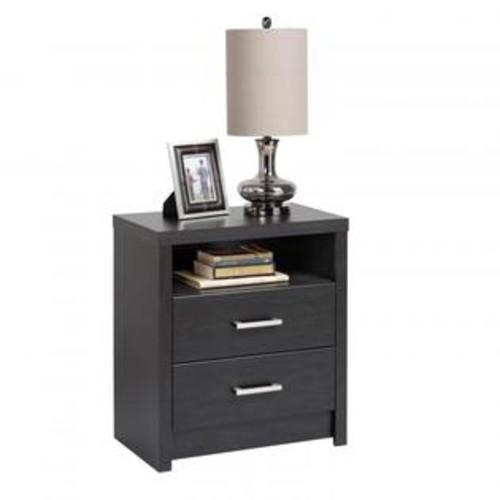 Prepac District Tall 2-Drawer Nightstand Black HDNH-0529-1