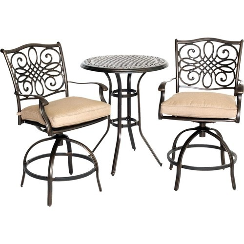 Hanover - Traditions 3-Piece Bistro Set Outdoor Furniture - Natural Oat