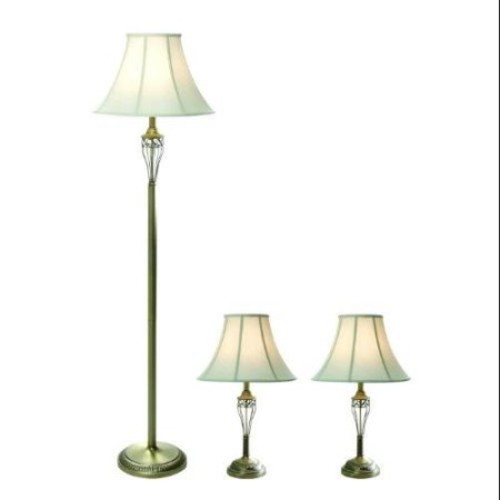 Antique Brass Three Pack Lamp Set (2 Table Lamps, 1 Floor Lamp)
