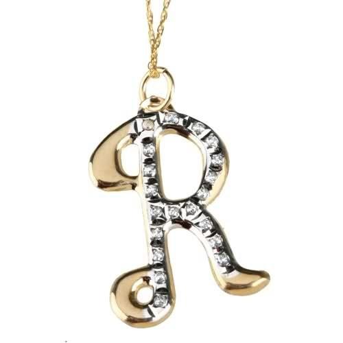 Diamond Fascination 14K Gold Diamond Accent Initial R Pendant w/ 18 Inch Chain