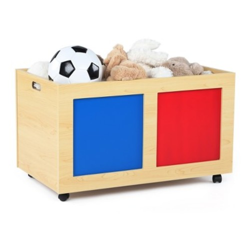 Primary Rolling Toy Box - Natural - Tot Tutors