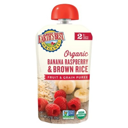 Earth's Best Organic Stage 2 Banana Raspberry Brown Rice Baby Food 4.2 oz