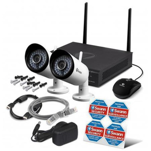 Swann 4 Channel NVR, 1TB HDD and 2x 1080p Outdoor Wi-Fi Bullet Cameras
