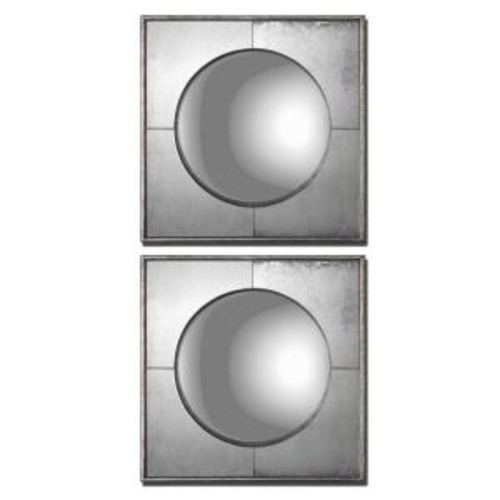 Global Direct 15.75 in. x 15.75 in. Convex Silver Framed Mirrors (Set of 2)