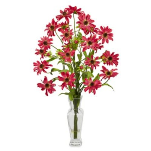 Nearly Natural Cosmos with Vase Silk Flower Arrangement in Red