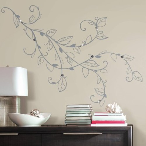 RoomMates Decor Silver Leaf Giant Peel-and-Stick Wall Decals with Pearls
