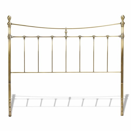Leighton Metal Headboard with Rounded Posts and Scalloped Castings, Antique Brass Finish, Queen [Queen, Traditional]