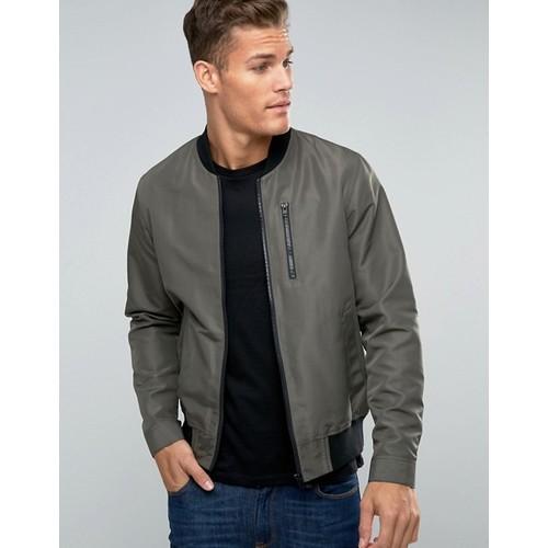ASOS Bomber Jacket With Zip Chest Pocket In Khaki